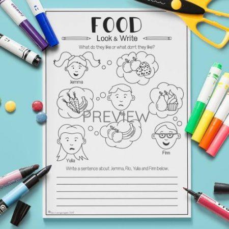 ESL English Food Look And Write Activity Worksheet