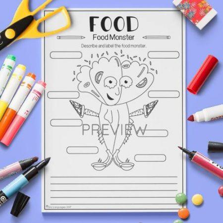 ESL English Food Monster Activity Worksheet
