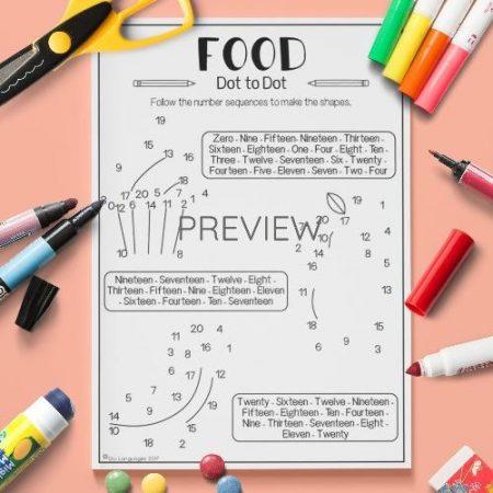 ESL English Food Dot To Dot Activity Worksheet