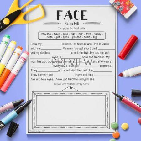 ESL English Face Gap Fill Activity Worksheet