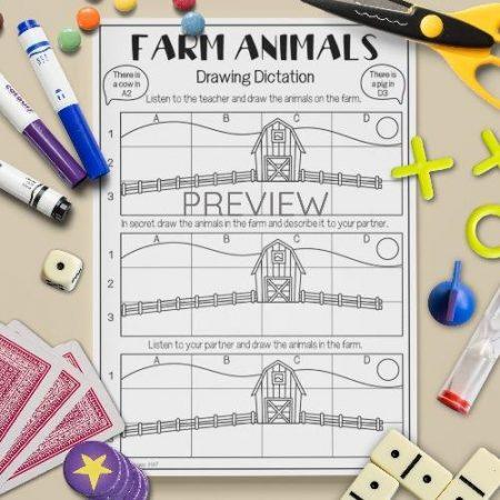 ESL English Farm Animals Drawing Dictation Game Activity Worksheet