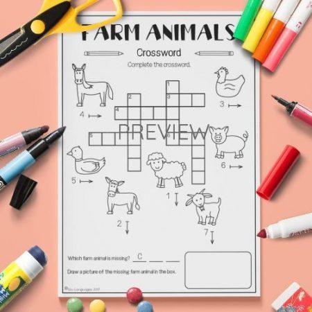 ESL English Farm Animals Crossword Activity Worksheet