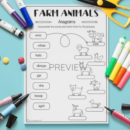 ESL English Farm Animals Anagrams Activity Worksheet