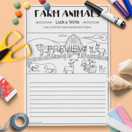 ESL English Farm Animals Look And Write Activity Worksheet