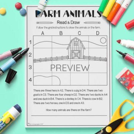 ESL English Farm Animals Read And Draw Activity Worksheet