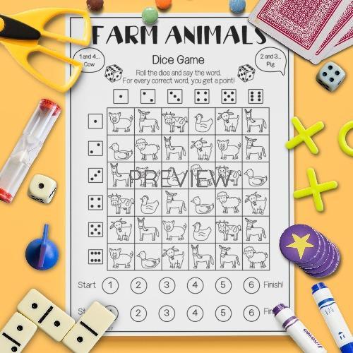ESL English Farm Animals Dice Game Activity Worksheet
