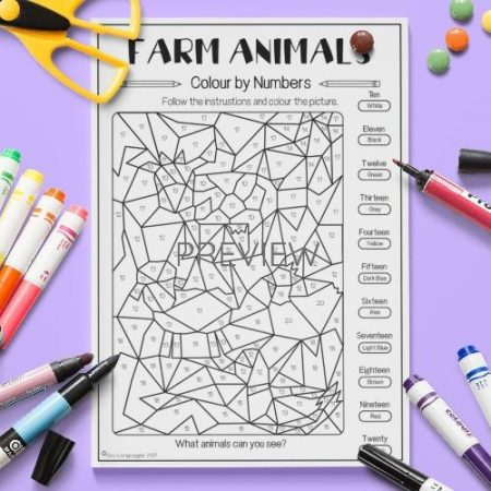 ESL English  Farm Animals Colour By Numbers Activity Worksheet