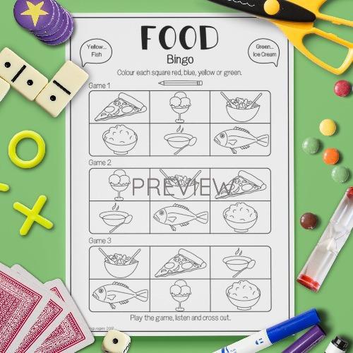 ESL English Food Bingo Game Activity Worksheet