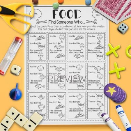 ESL English Food Find Someone Who Game Activity Worksheet