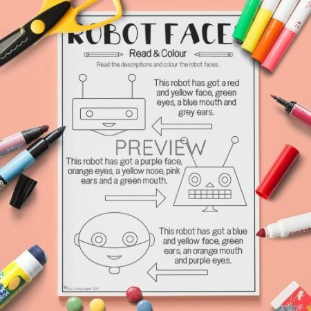 ESL English Face Read And Colour Activity Worksheet