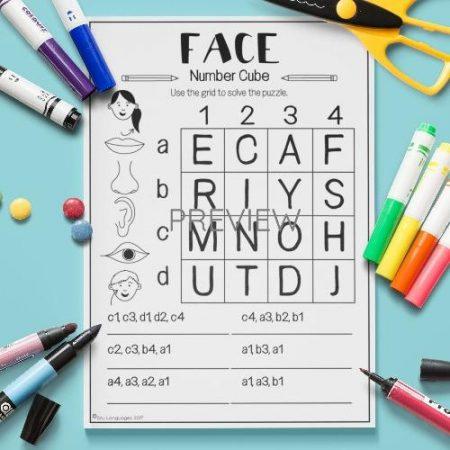 ESL English Face Number Cube Puzzle Activity Worksheet