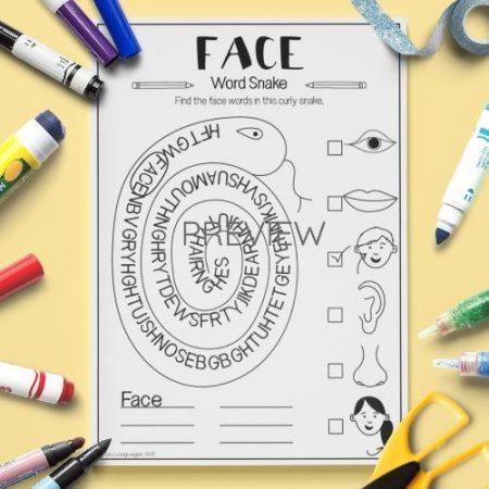 ESL English Face Word Snake Activity Worksheet