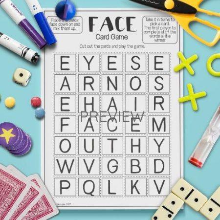 ESL English Face Letter Game Activity Worksheet