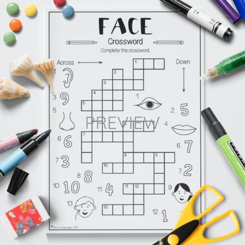 ESL English Face Crossword Game Activity Worksheet