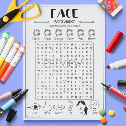 ESL English Face Word Search Activity Worksheet