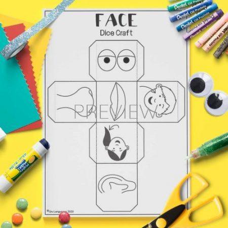 ESL English Face Dice Craft Activity Worksheet