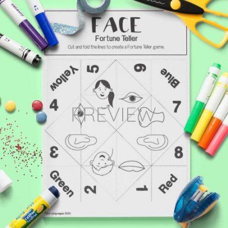 ESL English Face Fortune Teller Game Craft Activity Worksheet