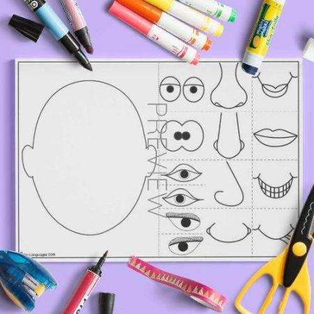 ESL English Face Mix Match Craft Activity Worksheet