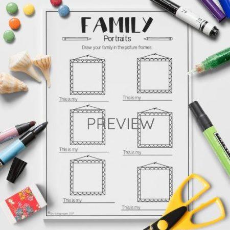 ESL English Family Portraits Activity Worksheet
