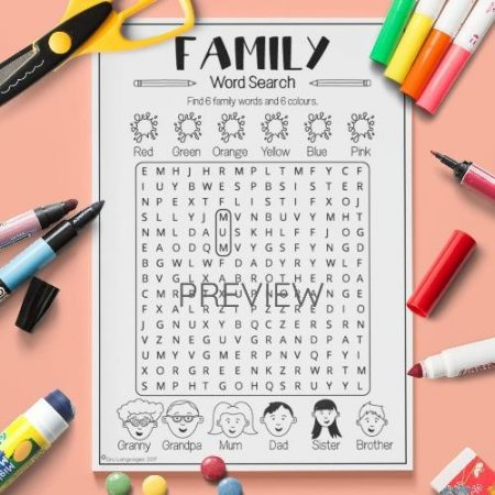 ESL English Family Word Search Activity Worksheet