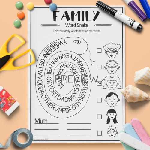 ESL English Family Word Snake Activity Worksheet
