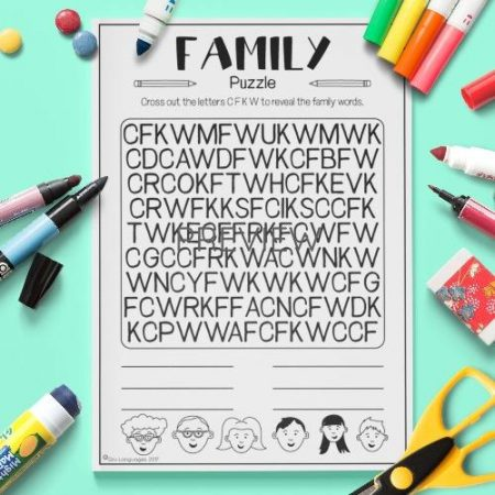 ESL English Family Letter Puzzle Activity Worksheet