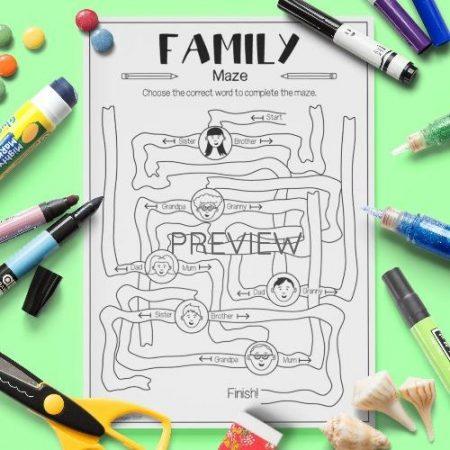 ESL English Family Vocabulary Maze Activity Worksheet