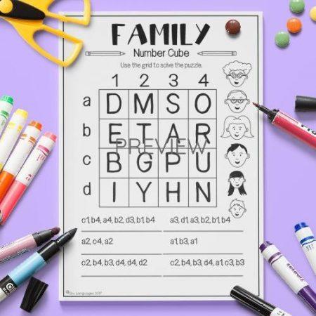 ESL English  Family Number Cube Puzzle Activity Worksheet