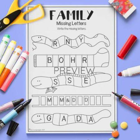 ESL English Family Missing Letters Activity Worksheet