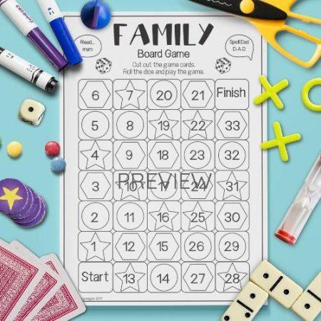 ESL English Family Board Game Activity Worksheet