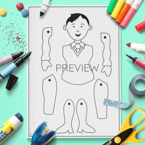 ESL English Family Puppet Crafts Activity Worksheet
