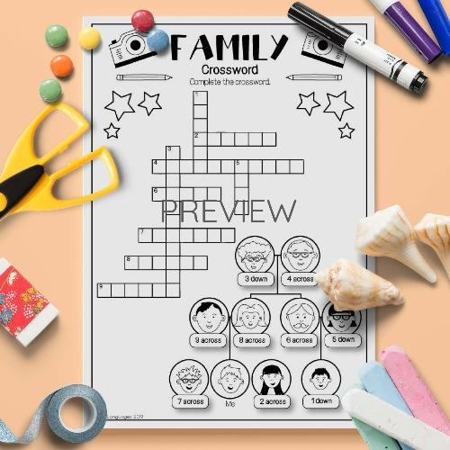 ESL English Family Crossword Activity Worksheet