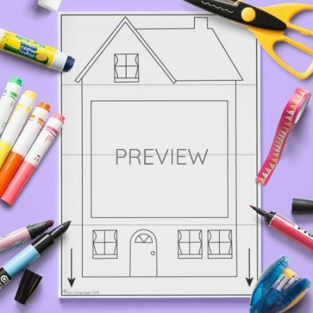 ESL English Family House Pull Down Craft Activity Worksheet