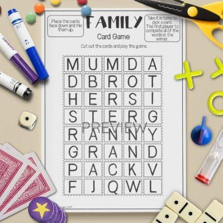 ESL English Family Letter Game Activity Worksheet