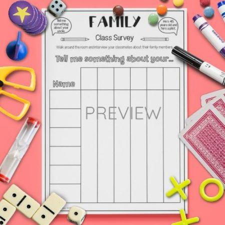 ESL English Family Classroom Survey Activity Worksheet