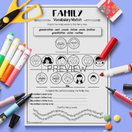 ESL English Family Vocabulary Match Activity Worksheet