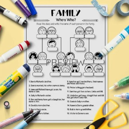 ESL English Family Who Is Who Activity Worksheet