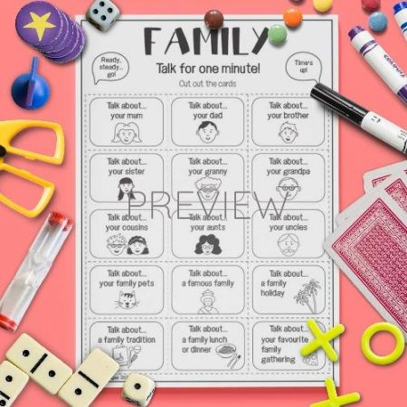 ESL English Family Talk For A Minute Card Game Activity Worksheet