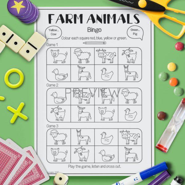 ESL English Farm Animal Bingo Game Activity Worksheet