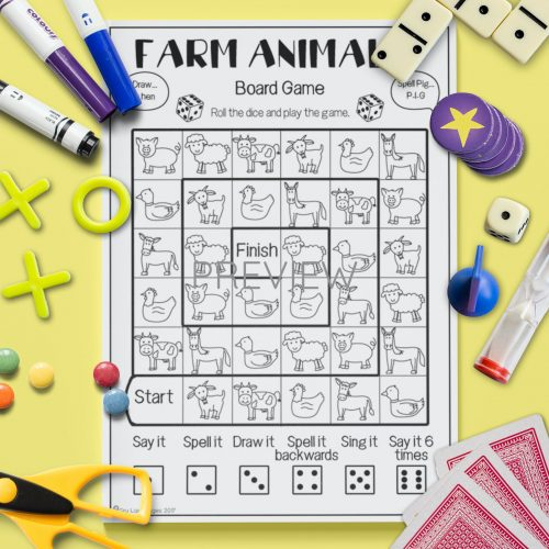 ESL English Farm Animal Board Game Activity Worksheet