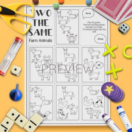 ESL English Farm Animal Two The Same Card Game Activity Worksheet