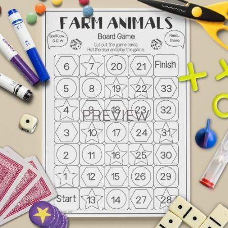 ESL English Farm Animals Board Game Activity Worksheet