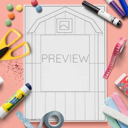 ESL English Farmhouse Pull Down Craft Activity Worksheet
