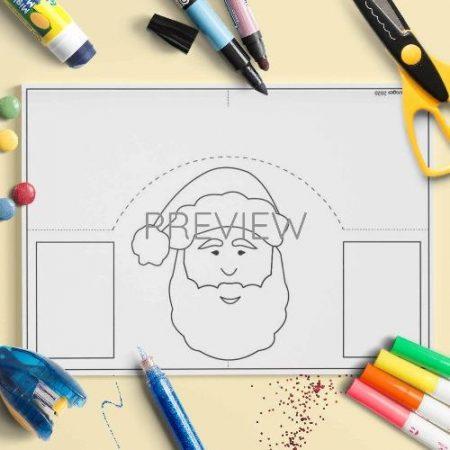 ESL English Father Christmas Face Craft Activity Worksheet
