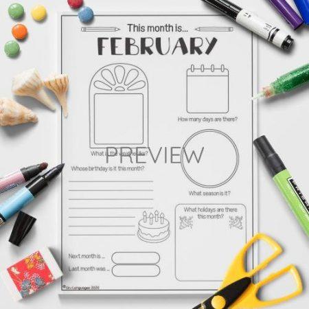 ESL English February Writing Activity Worksheet