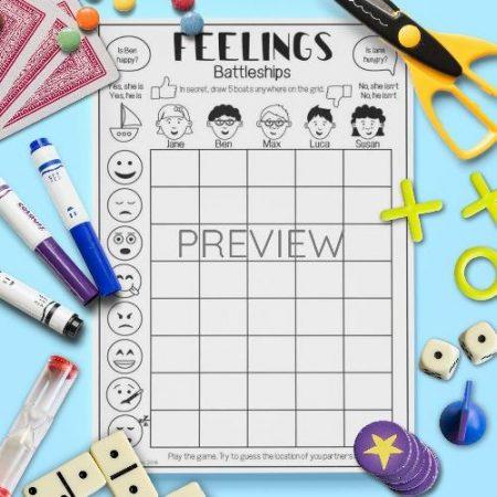 ESL English Feelings Battleships Game Activity Worksheet