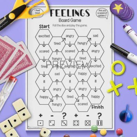ESL English Feelings Board Game Activity Worksheet