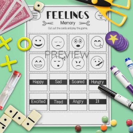 ESL English Feelings Memory Game Activity Worksheet