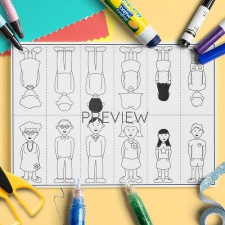 ESL English Family Finger Puppets Craft Activity Worksheet