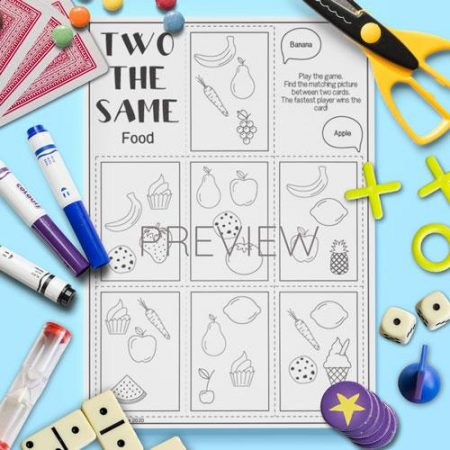 ESL English Food Two The Same Card Game Activity Worksheet